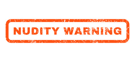 nudity: Nudity Warning text rubber seal stamp watermark. Caption inside rounded rectangular banner with grunge design and dirty texture. Horizontal vector orange ink sign on a white background.