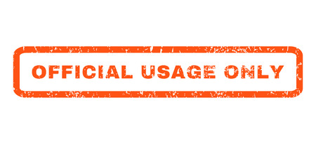 usage: Official USAge Only text rubber seal stamp watermark. Caption inside rounded rectangular banner with grunge design and scratched texture. Horizontal vector orange ink sticker on a white background.
