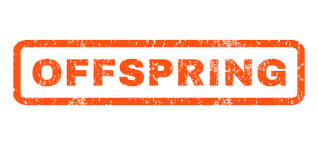offspring: Offspring text rubber seal stamp watermark. Caption inside rounded rectangular banner with grunge design and scratched texture. Horizontal vector orange ink sticker on a white background.