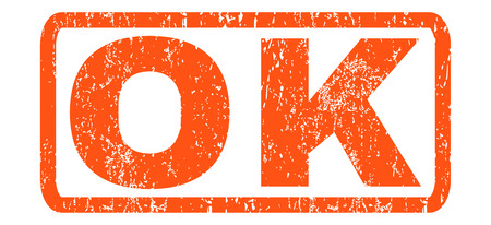 Ok text rubber seal stamp watermark. Tag inside rounded rectangular shape with grunge design and dust texture. Horizontal vector orange ink emblem on a white background.