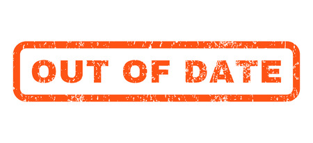 date stamp: Out Of Date text rubber seal stamp watermark. Caption inside rounded rectangular banner with grunge design and unclean texture. Horizontal vector orange ink sticker on a white background.