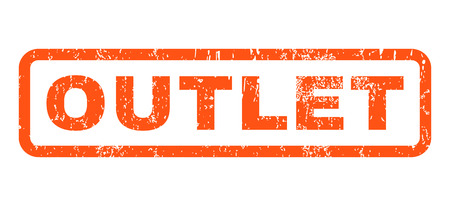 Outlet text rubber seal stamp watermark. Tag inside rounded rectangular banner with grunge design and unclean texture. Horizontal vector orange ink sticker on a white background.