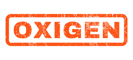 oxigen: Oxigen text rubber seal stamp watermark. Tag inside rounded rectangular shape with grunge design and unclean texture. Horizontal vector orange ink sticker on a white background.