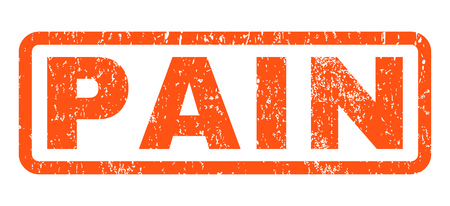 Pain text rubber seal stamp watermark. Tag inside rounded rectangular shape with grunge design and dust texture. Horizontal vector orange ink emblem on a white background.