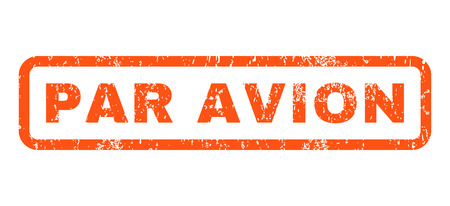 par avion: Par Avion text rubber seal stamp watermark. Tag inside rounded rectangular shape with grunge design and unclean texture. Horizontal vector orange ink sticker on a white background.