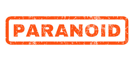 paranoia: Paranoid text rubber seal stamp watermark. Tag inside rounded rectangular banner with grunge design and scratched texture. Horizontal vector orange ink emblem on a white background.