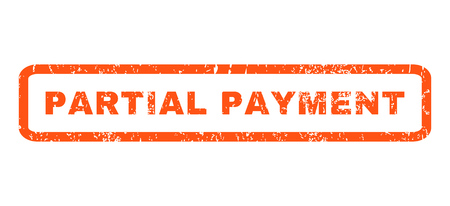 partial: Partial Payment text rubber seal stamp watermark. Tag inside rounded rectangular shape with grunge design and dirty texture. Horizontal vector orange ink emblem on a white background.