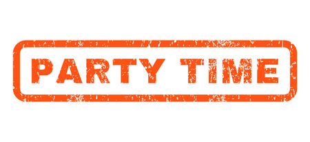 party time: Party Time text rubber seal stamp watermark. Tag inside rounded rectangular shape with grunge design and unclean texture. Horizontal vector orange ink sign on a white background. Illustration