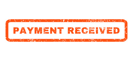 received: Payment Received text rubber seal stamp watermark. Tag inside rounded rectangular banner with grunge design and dust texture. Horizontal vector orange ink sign on a white background. Illustration
