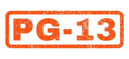 Pg-13 text rubber seal stamp watermark. Tag inside rounded rectangular shape with grunge design and dirty texture. Horizontal vector orange ink sign on a white background.