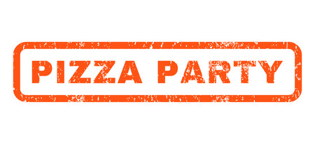 Pizza Party text rubber seal stamp watermark. Caption inside rounded rectangular banner with grunge design and dust texture. Horizontal vector orange ink sticker on a white background.