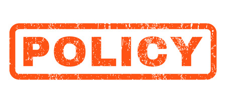 Policy text rubber seal stamp watermark. Tag inside rounded rectangular banner with grunge design and dust texture. Horizontal vector orange ink sticker on a white background.