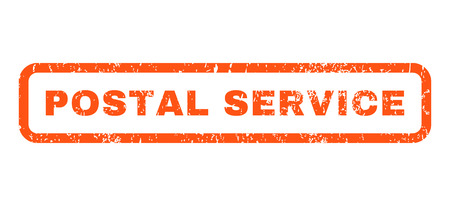 postal service: Postal Service text rubber seal stamp watermark. Tag inside rounded rectangular shape with grunge design and scratched texture. Horizontal vector orange ink sign on a white background. Illustration