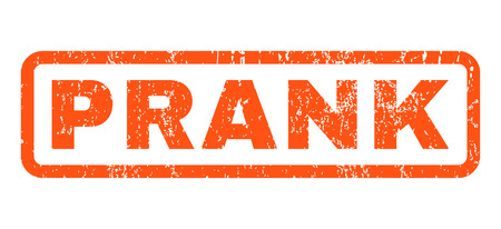 prank: Prank text rubber seal stamp watermark. Tag inside rounded rectangular banner with grunge design and dirty texture. Horizontal vector orange ink sticker on a white background.