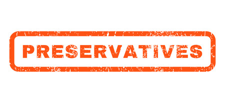 preservatives: Preservatives text rubber seal stamp watermark. Caption inside rounded rectangular banner with grunge design and scratched texture. Horizontal vector orange ink sticker on a white background.