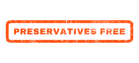 preservatives: Preservatives Free text rubber seal stamp watermark. Tag inside rounded rectangular shape with grunge design and dirty texture. Horizontal vector orange ink emblem on a white background.