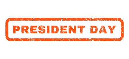 president day: President Day text rubber seal stamp watermark. Tag inside rounded rectangular banner with grunge design and unclean texture. Horizontal vector orange ink emblem on a white background.