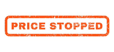 stopped: Price Stopped text rubber seal stamp watermark. Caption inside rounded rectangular shape with grunge design and dust texture. Horizontal vector orange ink sticker on a white background.