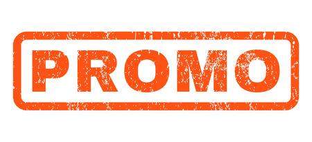 Marca de agua de sello de goma de texto promocional. Título dentro de forma rectangular redondeada con diseño grunge y textura sucia. Vector horizontal muestra de tinta naranja sobre un fondo blanco.