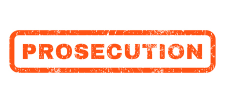 Prosecution text rubber seal stamp watermark. Tag inside rounded rectangular shape with grunge design and scratched texture. Horizontal vector orange ink sign on a white background.