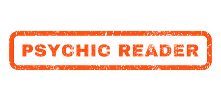 psychic: Psychic Reader text rubber seal stamp watermark. Caption inside rounded rectangular shape with grunge design and scratched texture. Horizontal vector orange ink sign on a white background.