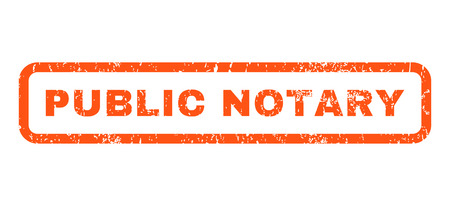 Public Notary text rubber seal stamp watermark. Tag inside rounded rectangular banner with grunge design and unclean texture. Horizontal vector orange ink emblem on a white background.