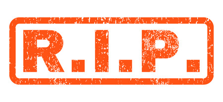 R.I.P. text rubber seal stamp watermark. Tag inside rounded rectangular shape with grunge design and dirty texture. Horizontal vector orange ink sign on a white background.