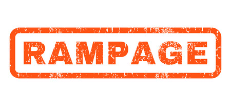 rampage: Rampage text rubber seal stamp watermark. Tag inside rounded rectangular shape with grunge design and unclean texture. Horizontal vector orange ink sticker on a white background. Illustration
