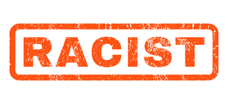 discriminate: Racist text rubber seal stamp watermark. Caption inside rounded rectangular banner with grunge design and dirty texture. Horizontal vector orange ink emblem on a white background. Illustration