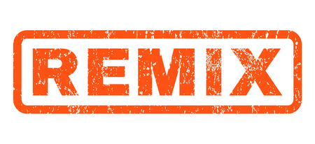 Remix text rubber seal stamp watermark. Caption inside rounded rectangular banner with grunge design and unclean texture. Horizontal vector orange ink sticker on a white background.