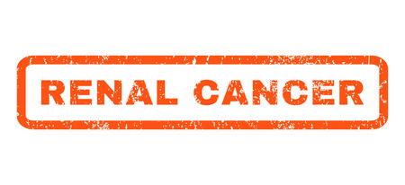 renal: Renal Cancer text rubber seal stamp watermark. Tag inside rounded rectangular shape with grunge design and unclean texture. Horizontal vector orange ink sign on a white background. Illustration