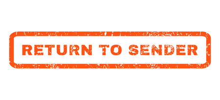sender: Return To Sender text rubber seal stamp watermark. Caption inside rounded rectangular shape with grunge design and dirty texture. Horizontal vector orange ink emblem on a white background.
