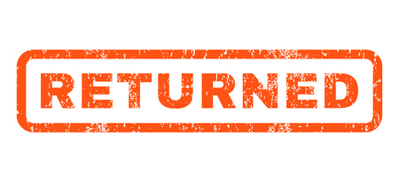 returned: Returned text rubber seal stamp watermark. Caption inside rounded rectangular banner with grunge design and dirty texture. Horizontal vector orange ink emblem on a white background. Illustration