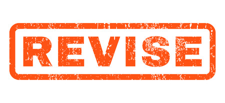 revise: Revise text rubber seal stamp watermark. Caption inside rounded rectangular shape with grunge design and dust texture. Horizontal vector orange ink emblem on a white background.
