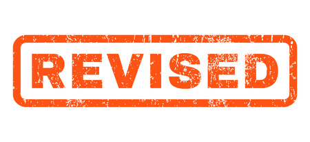 Revised text rubber seal stamp watermark. Tag inside rounded rectangular banner with grunge design and dirty texture. Horizontal vector orange ink emblem on a white background.