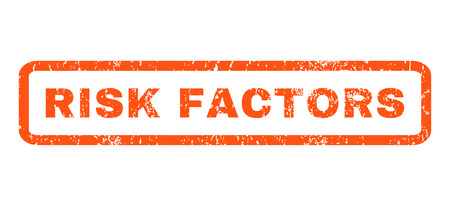 factors: Risk Factors text rubber seal stamp watermark. Caption inside rounded rectangular banner with grunge design and scratched texture. Horizontal vector orange ink sign on a white background. Illustration