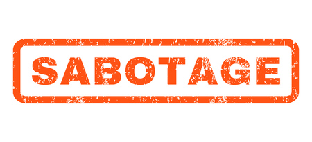 sabotage: Sabotage text rubber seal stamp watermark. Caption inside rounded rectangular banner with grunge design and scratched texture. Horizontal vector orange ink sticker on a white background.