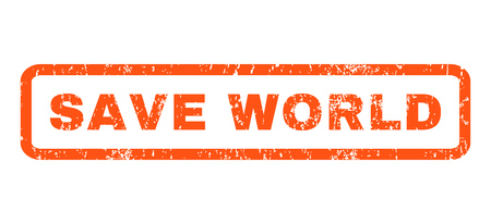 save the world: Save World text rubber seal stamp watermark. Caption inside rounded rectangular shape with grunge design and dirty texture. Horizontal vector orange ink sign on a white background.