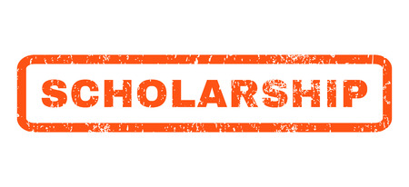 scholarship: Scholarship text rubber seal stamp watermark. Caption inside rounded rectangular banner with grunge design and scratched texture. Horizontal vector orange ink sticker on a white background.