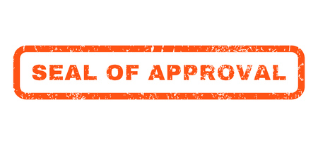 seal of approval: Seal Of Approval text rubber seal stamp watermark. Caption inside rounded rectangular banner with grunge design and dust texture. Horizontal vector orange ink sticker on a white background.