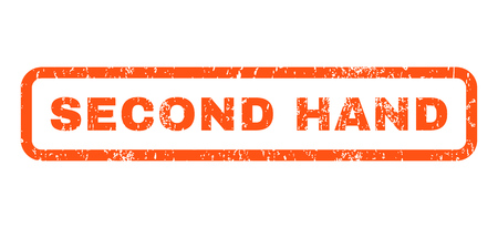 second hand: Second Hand text rubber seal stamp watermark. Caption inside rounded rectangular banner with grunge design and unclean texture. Horizontal vector orange ink sign on a white background.