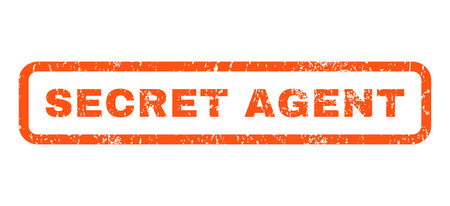 secret agent: Secret Agent text rubber seal stamp watermark. Tag inside rounded rectangular shape with grunge design and scratched texture. Horizontal vector orange ink sticker on a white background.