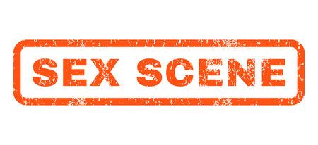 Sex-Szene Text Gummidichtung Stempel Wasserzeichen. Titel innerhalb der gerundeten rechteckigen Fahne mit Schmutzdesign und Staubbeschaffenheit. Orange Tintenzeichen des horizontalen Vektors auf einem weißen Hintergrund.