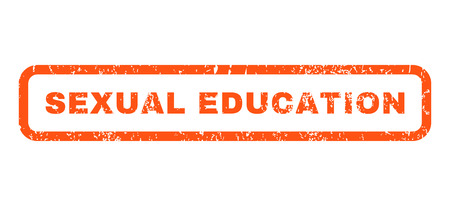 educacion sexual: Educación Sexual texto marca de agua sello de junta de goma. Leyenda redondeado en el interior de forma rectangular con diseño de grunge y textura sucia. Horizontal pegatina de tinta vector naranja sobre un fondo blanco. Vectores