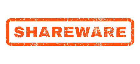 shareware: Shareware text rubber seal stamp watermark. Caption inside rounded rectangular shape with grunge design and dust texture. Horizontal vector orange ink sign on a white background.