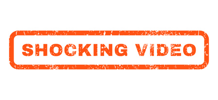 shocking: Shocking Video text rubber seal stamp watermark. Caption inside rounded rectangular shape with grunge design and scratched texture. Horizontal vector orange ink sign on a white background.