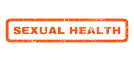 salud sexual: Salud texto marca de agua sello de junta de goma sexual. Leyenda redondeado en el interior de forma rectangular con diseño de grunge y textura sucia. Horizontal signo tinta vector naranja sobre un fondo blanco. Vectores