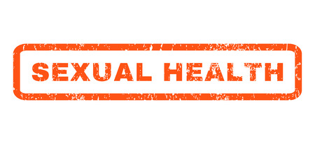 sexual health: Sexual Health text rubber seal stamp watermark. Caption inside rounded rectangular shape with grunge design and dirty texture. Horizontal vector orange ink sign on a white background. Illustration
