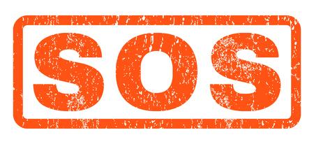 Sos testo in gomma sigillo timbro filigrana. Tag all'interno di forma rettangolare arrotondata con design grunge e texture graffiata. Emblema di inchiostro arancione vettore orizzontale su sfondo bianco.