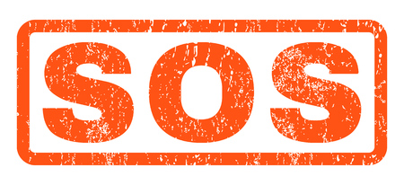 Sos text rubber seal stamp watermark. Tag inside rounded rectangular shape with grunge design and scratched texture. Horizontal vector orange ink emblem on a white background. Illustration